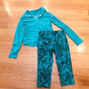 Turquoise Zip Pullover & Print Leggings